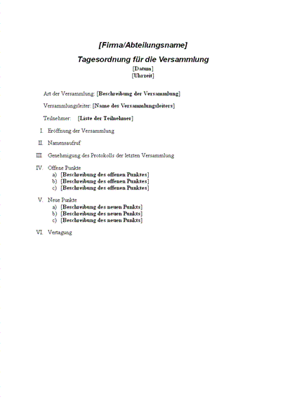 Besprechungszeitplan für eine formelle Besprechung