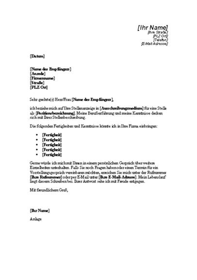 Bewerbungsschreiben für eine Stellenausschreibung im technischen Bereich