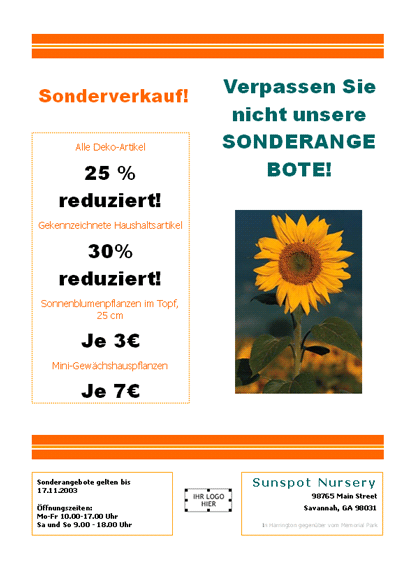 Flugblatt für Gärtnerei