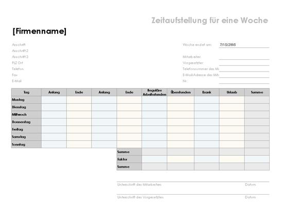 Wochenarbeitszeitkarte (21,6 x 27,9 cm, Querformat)