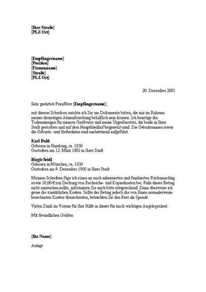 Bitte um genealogische Dokumente (Bibliothek)