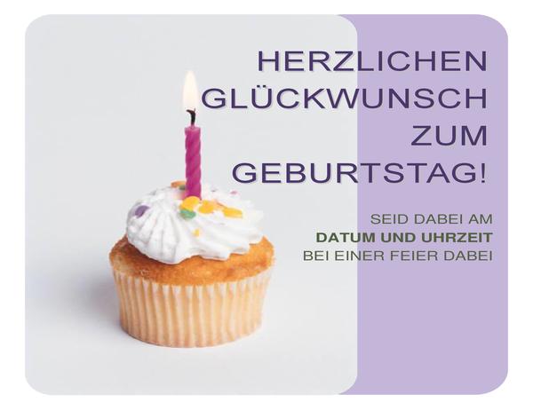 Geburtstagseinladungshandzettel (mit Cupcake)