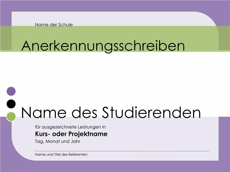 Anerkennungsschreiben für Studierende