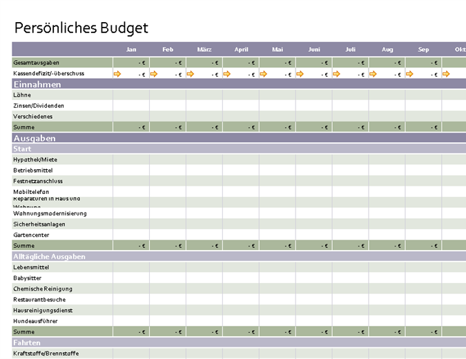 pers nliches budget office templates