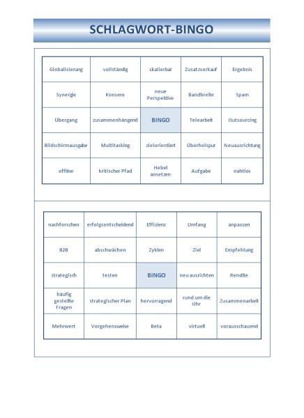Vorlage für Schlagwort-Bingo