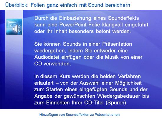 Schulungspräsentation: PowerPoint 2007 – Hinzufügen von Soundeffekten zu Präsentationen