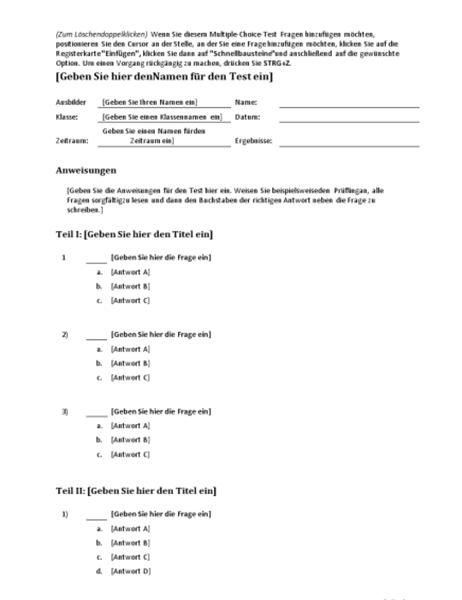 Multiple-Choice-Testkit (zum Erstellen von Fragen mit 3, 4 oder 5 Antworten)