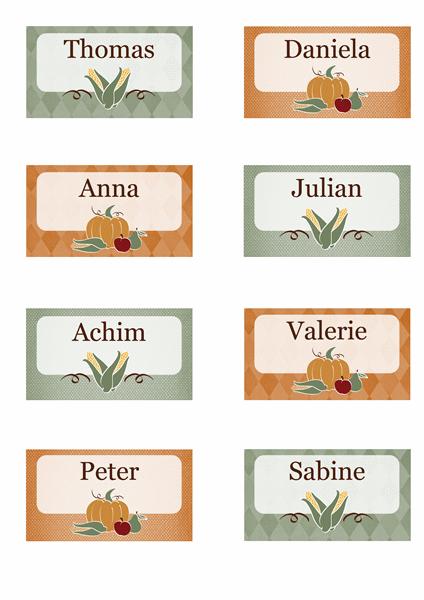 Platzkarten (Erntedankdesign)