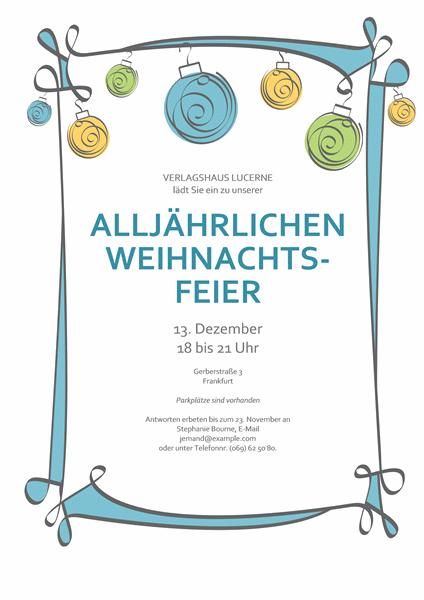 Einladung mit blauen, grünen und gelben Ornamenten (informelles Design)