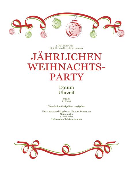 Einladung mit roten und grünen Ornamenten (formelles Design)