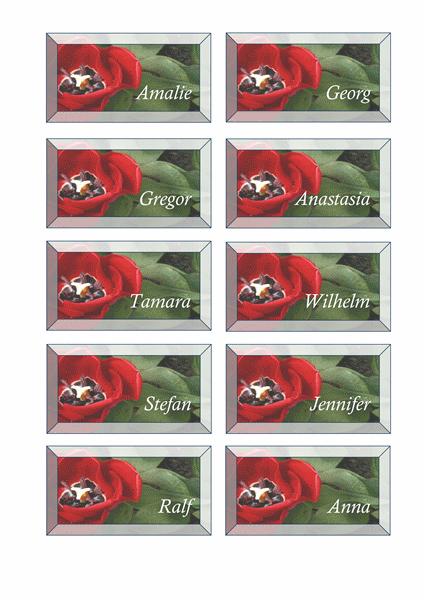 Platzkarten (Blumenmuster)