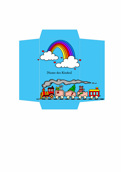 Geldumschlag (Design mit Spielzeugzug)