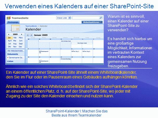 Schulungspräsentation: SharePoint Server2007 – KalenderI: Machen Sie das Beste aus Ihrem Teamkalender