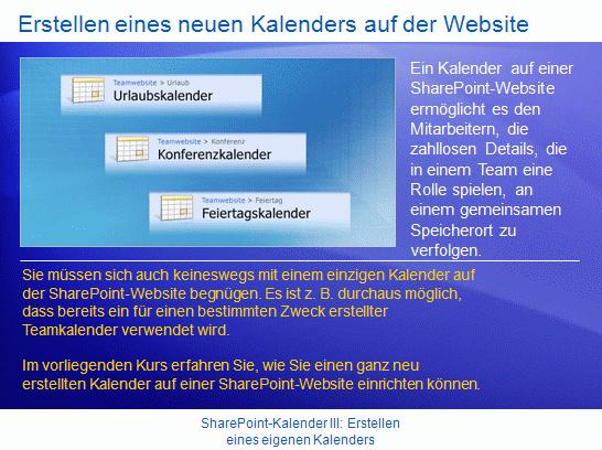 Schulungspräsentation: SharePoint Server2007 – KalenderIII: Erstellen eines eigenen Kalenders