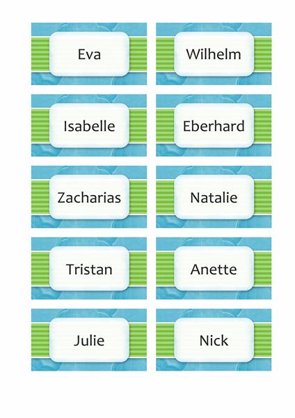 Namens- oder Platzkarten (Wolkendesign, 10 pro Seite)