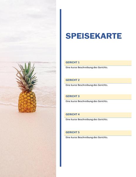 Partymenü (Design mit Sonne und Sand)