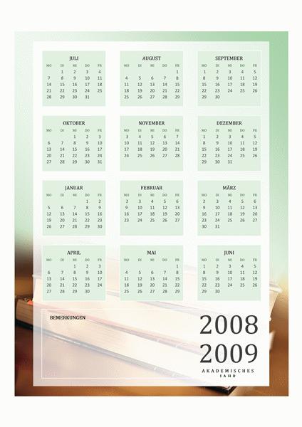 Akademischer Kalender 2008-2009 (1Seite, Mo-Fr)