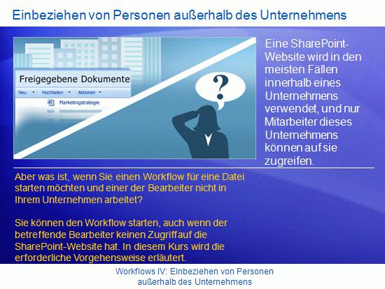 Schulungspräsentation: SharePoint Server 2007 – WorkflowsIV: Einbeziehen von Personen außerhalb des Unternehmens