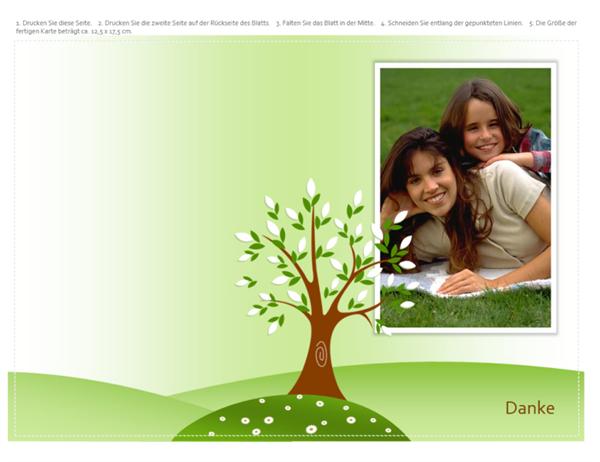 Grußkarte mit Foto (Baum, gefaltet)