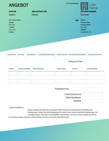 Verkaufsangebot (Design mit grünem Farbverlauf)