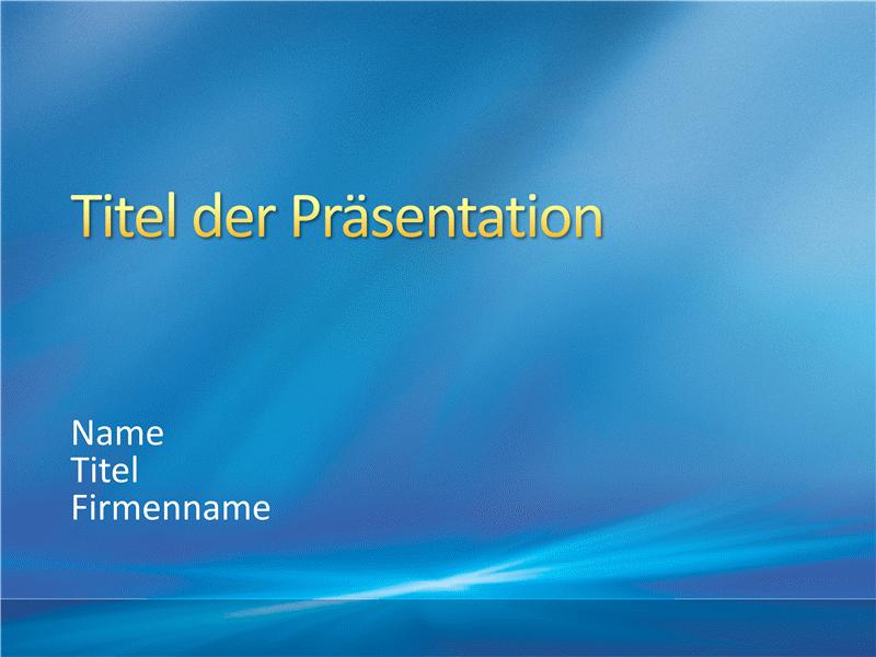 """Beispielpräsentationsfolien (Design """"Blaue Strahlen"""")"""