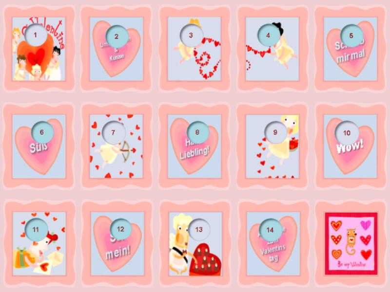 Kalender bis zum Valentinstag