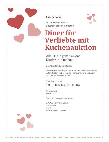 Einladung zur Kuchenaktion für Verliebte am Valentinstag