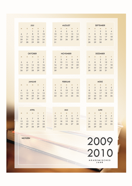 Akademischer Kalender 2009-2010 (1 Seite, Mo-Fr)