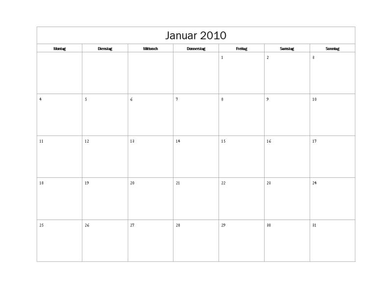 Kalender 2010 (einfaches Design, Mo-So)