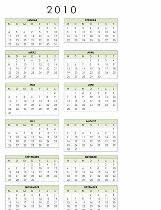 Kalender 2010 (1 Seite, Hochformat, Mo-So)