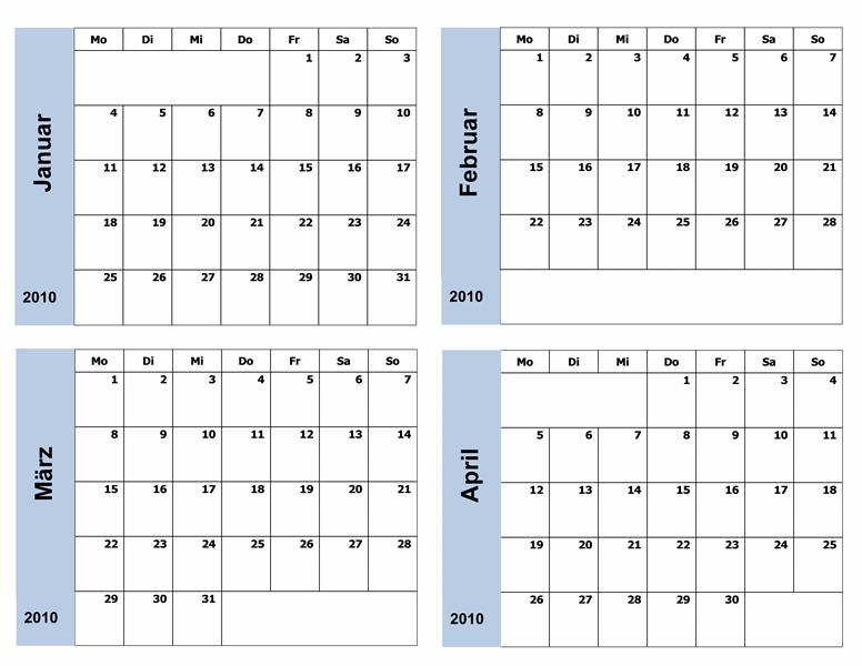 Kalender 2010 mit blauem Rahmen (3 Seiten)