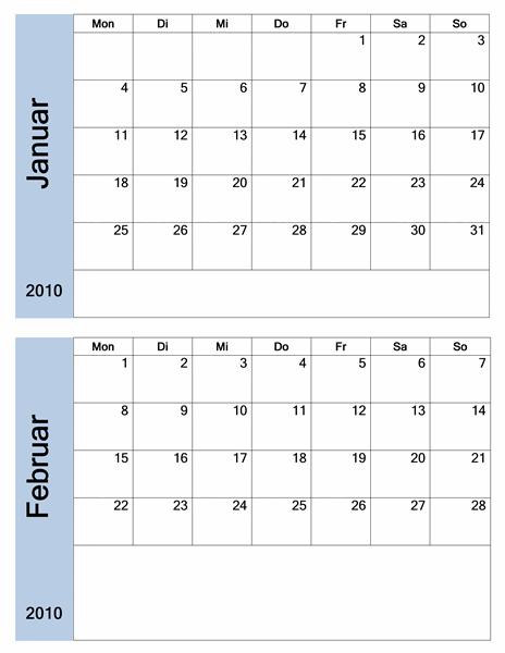 Kalender 2010 mit blauem Rahmen (6 Seiten)