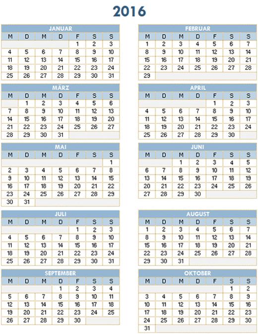 Jahreskalender 2016-2025