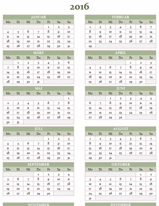 Jahreskalender 2016-2025 (Mo-So)