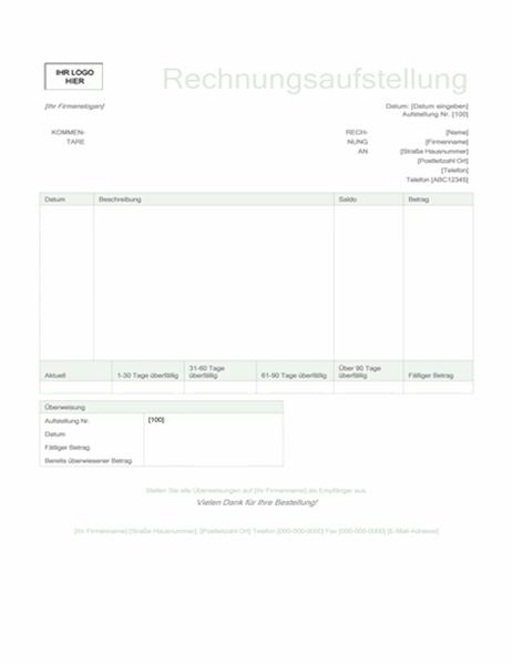 """Rechnungsaufstellung (Design """"Grün"""")"""