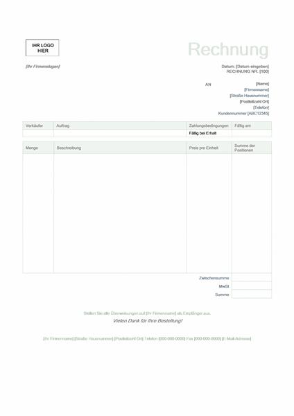 """Dienstleistungsrechnung (Design """"Grün"""")"""