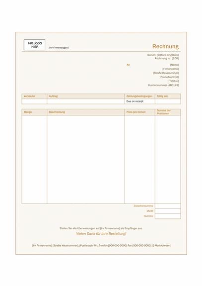 """Dienstleistungsrechnung (Design """"Siena"""")"""