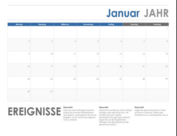 Horizontaler Kalender (Beginn Sonntag)
