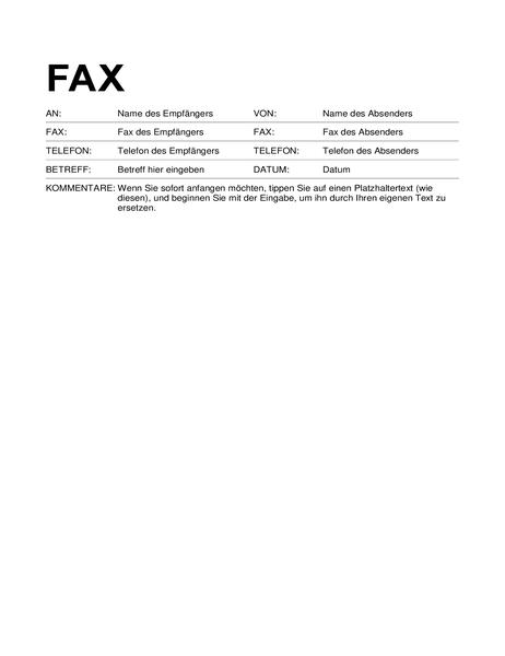 Faxdeckblatt (Standardformat)