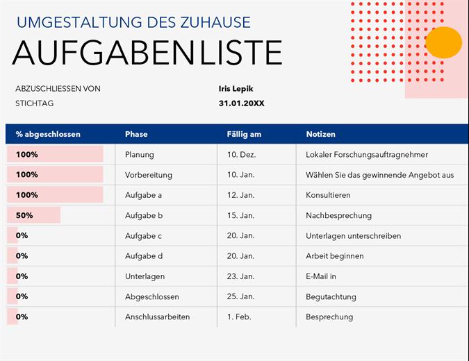 Aufgabenliste für Projekte