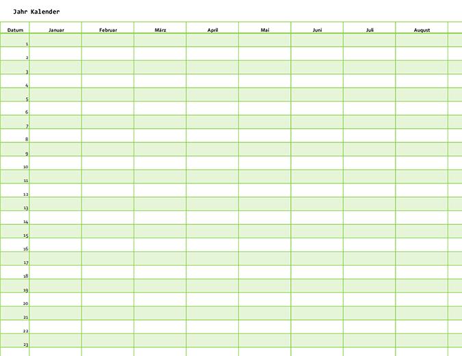 Jahreskalender für ein beliebiges Jahr (vertikal)