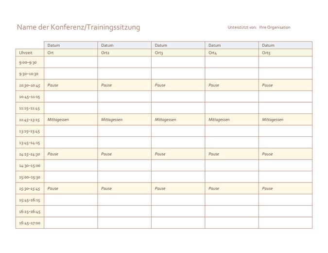 Veranstaltungszeitplan für 5 Tage