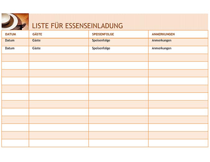 Liste für Essenseinladung mit Speisenfolge