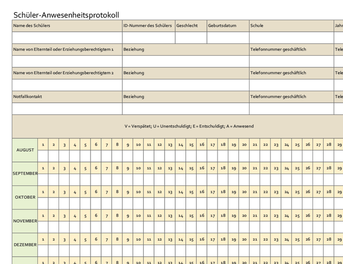 Schüler-Anwesenheitsprotokoll (einfach)