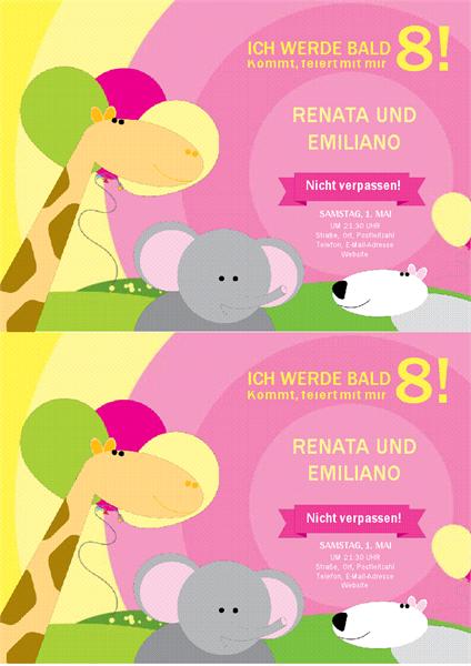 Geburtstags-Einladungskarte (Kinderdesign, 2 pro Seite)
