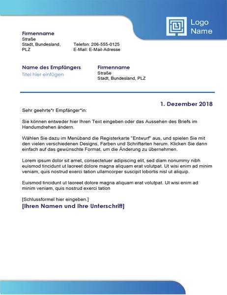 Geschäftsbrief (blauer Rahmen und Farbverlauf)