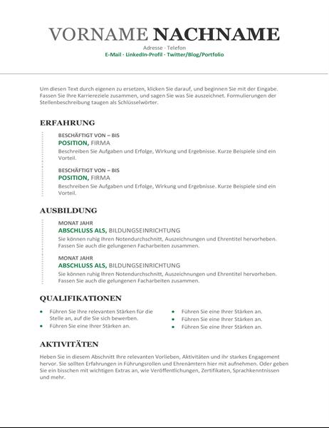Chronologischer Lebenslauf (Design Modern)