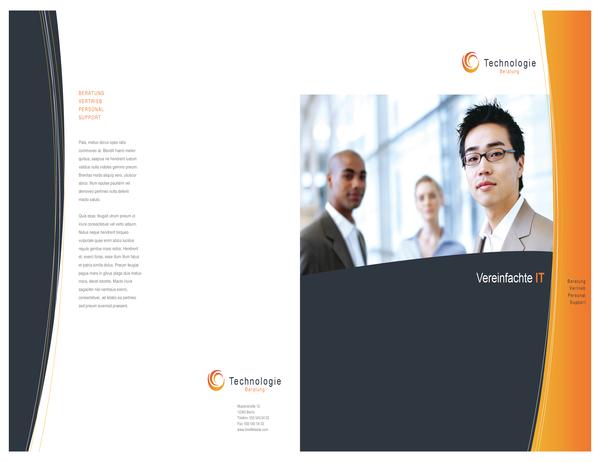 Broschüre für Technologieunternehmen (mittig gefaltet, Zeitungsformat)