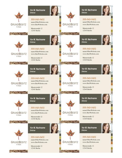 Visitenkarte für Immobilienmakler (10 pro Seite)