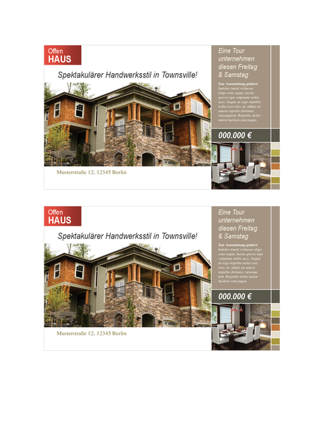 Immobilien-Postkarte (2 pro Seite)